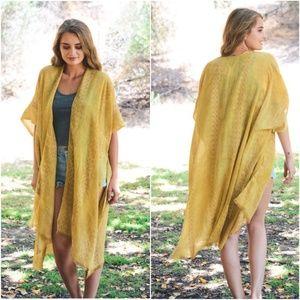 Boho Mustard Tribal Open Front Kimono Cover up